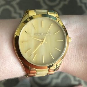 Authentic Micheal Kors Slim Yellow & Gold Watch